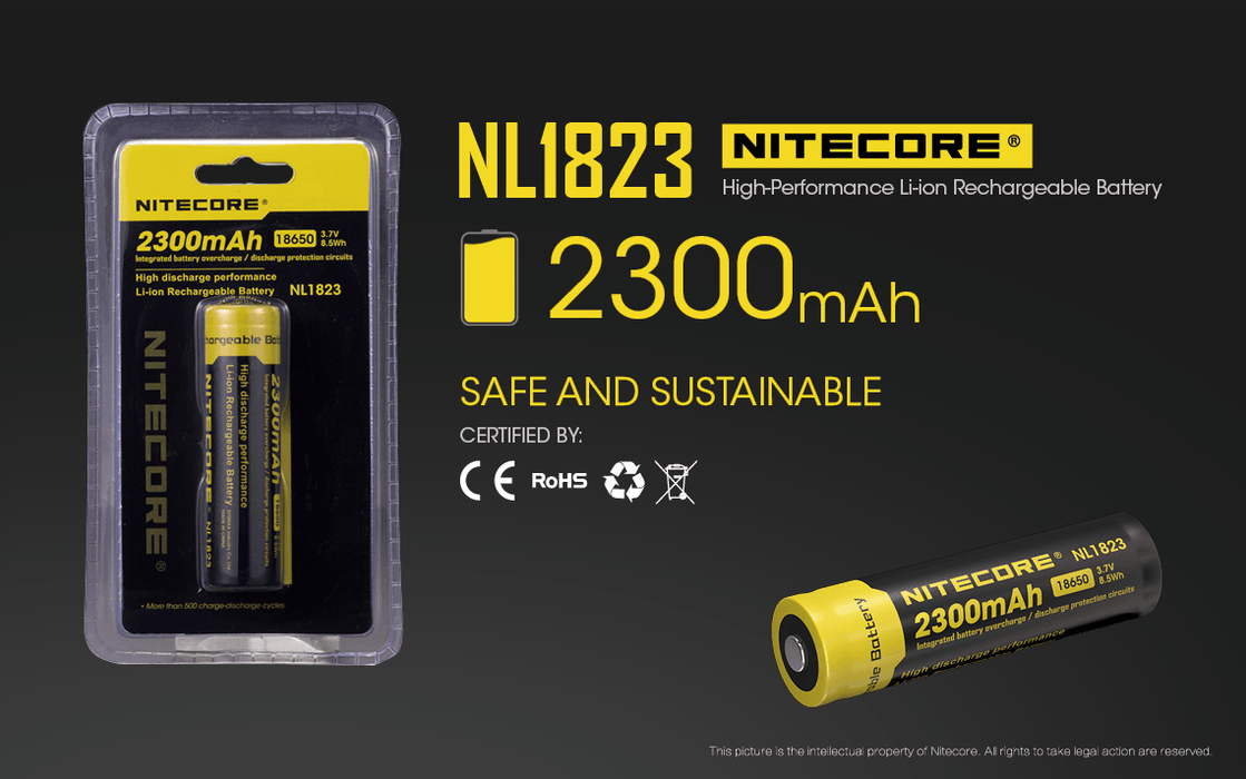Nitecore NL1823 2300mAh 18650 Rechargeable Battery Rechargeable Batteries Nitecore