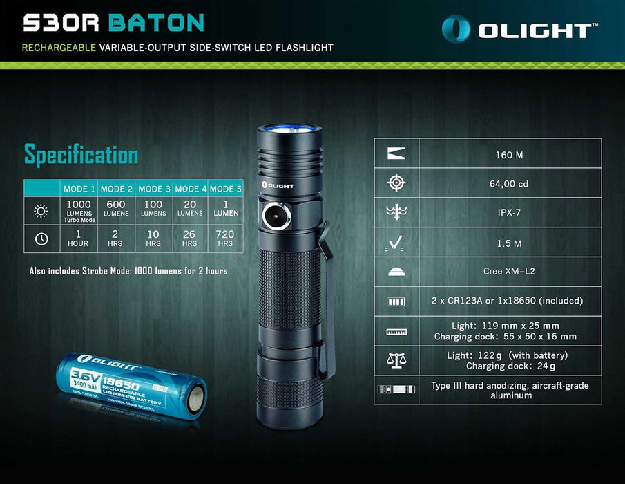 Olight S30R BATON III  LED Flashlight
