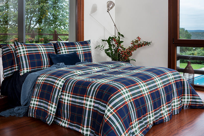 Navy Green Flannel Cotton Duvet Cover Set