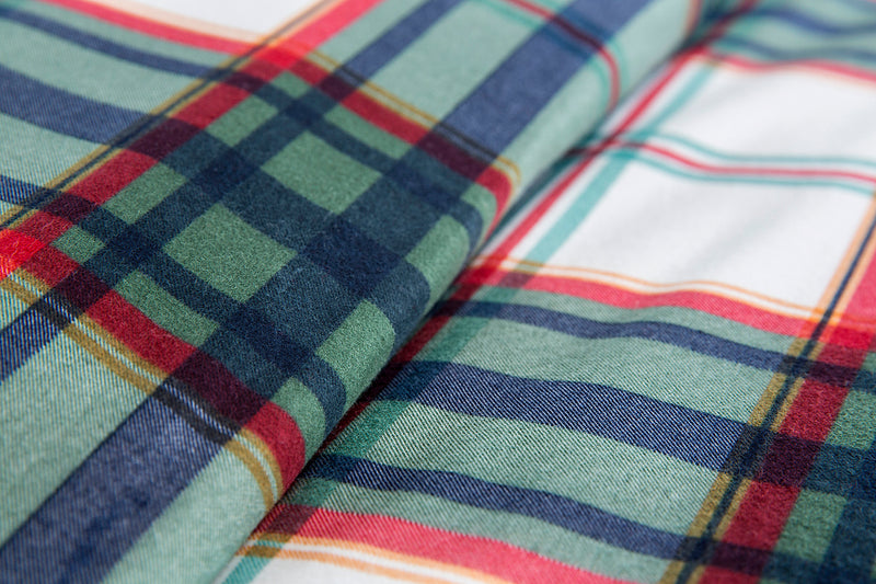 Green Navy Red White Check Flannel Cotton Duvet Cover Set