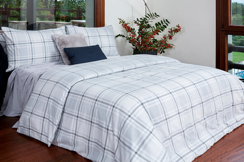 Grey White Check Pattern Flannel Cotton Duvet Cover Set