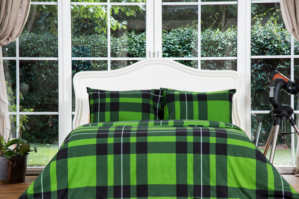 Green Plaid Flannel Cotton Duvet Cover Set