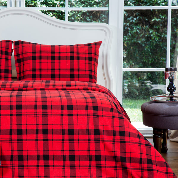 Red Plaid Flannel Cotton Duvet Cover Set