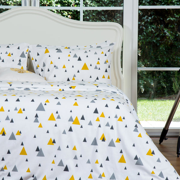 Yellow Triangles Flannel Cotton Duvet Cover Set