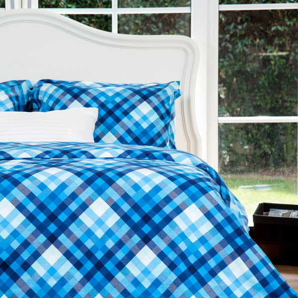 Blue Plaid Flannel Cotton Duvet Cover Set