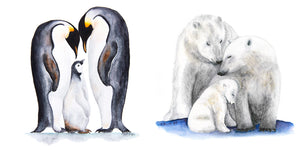 Polar Bears and Penguins in Watercolor