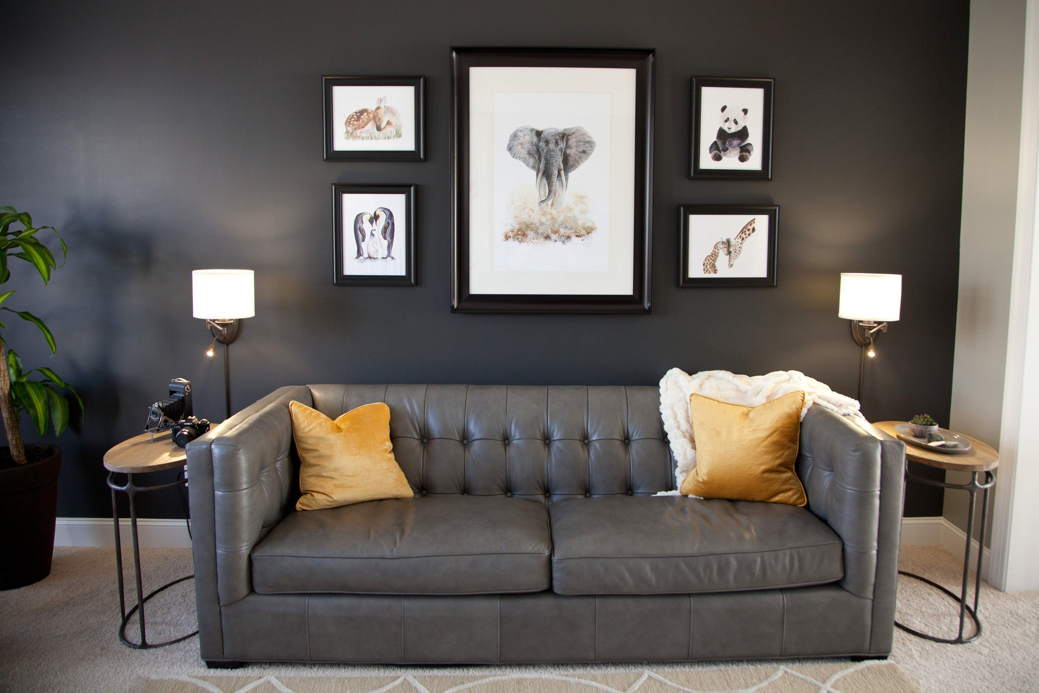 Animal Art Gallery Wall in Living Room