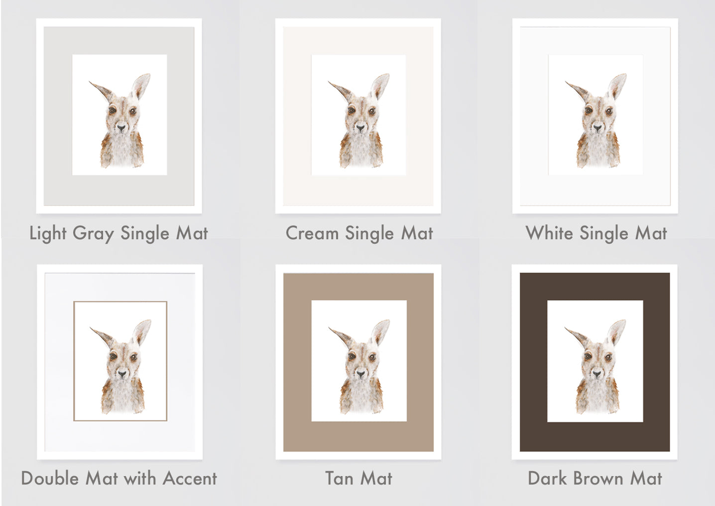 as you can see the tan mat and the dark brown mat tend to overpower the artwork and the kangaroo becomes less of the focus the white gray and cream is