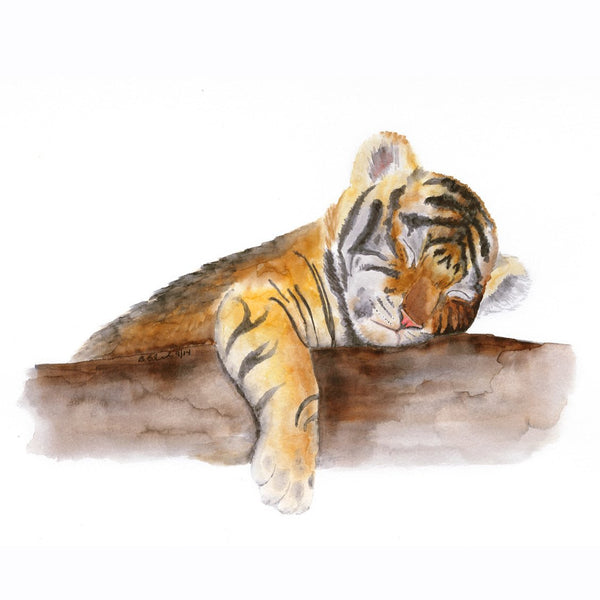 Sleeping Baby Tiger Painting