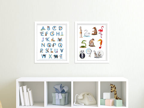 Animal Alphabet and Number Nursery Art