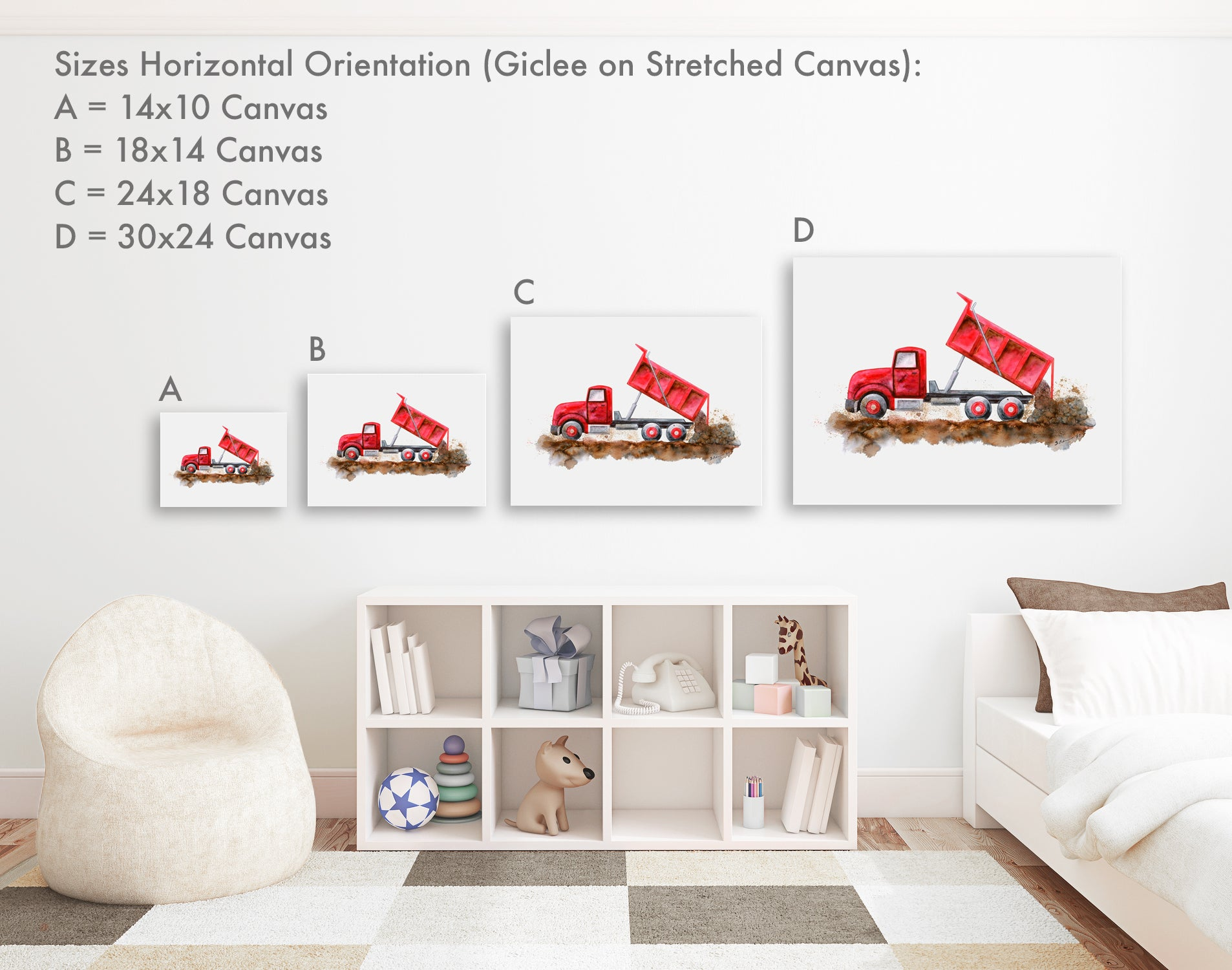 Horizontal Gallery Wrapped Canvas Sizes