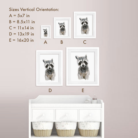 Print Sizes Vertical Orientation - Small