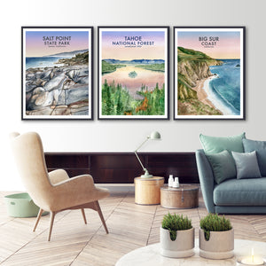 California Travel Poster Set