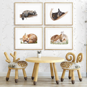 Woodland Sleeping Baby Animal Print Set for Nursery