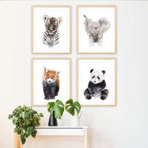 Set of 4 Jungle Baby Animal Prints