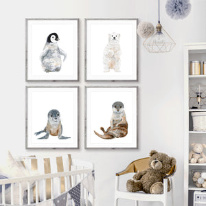 Arctic Baby Animal Print Set of 4