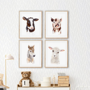 Set of 4 Farm Baby Animal Prints