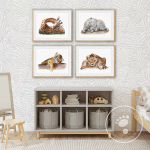 Jungle Sleeping Baby Animal Print Set for Gender Neutral Nursery