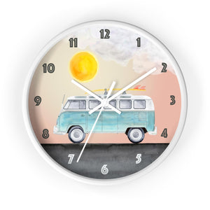VW Camper Van Wall Clock in White