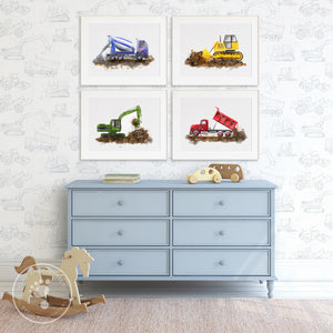 Construction Set of 4 Prints for Boy's Room