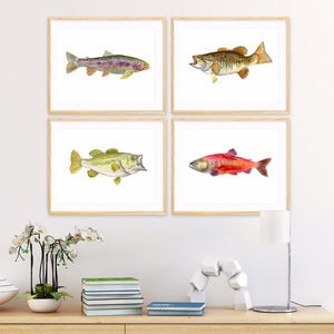 Angler Fishing Fish Print Set of 4