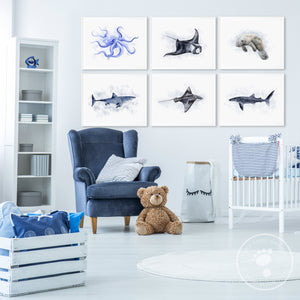 Ocean Animal Nursery Print Set