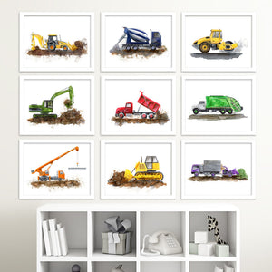 Green Garbage Truck wall decor as part of construction vehicle print set