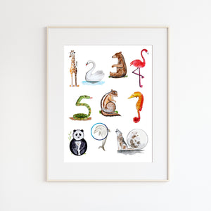 Animal Numbers Nursery Art