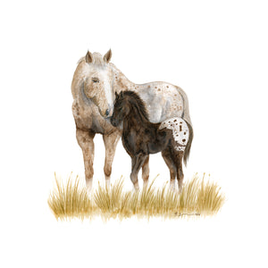 Mom and Baby Horse Watercolor Print