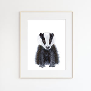 Baby Badger Watercolor Print