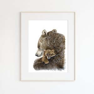Mom and Baby Bear Watercolor Print