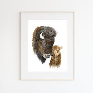 Mom and Baby Bison Watercolor Portrait