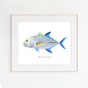 Bluefin Trevally Watercolor Art