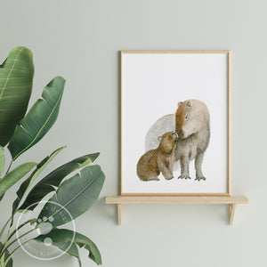 Mom and Baby Capybara Wall Art