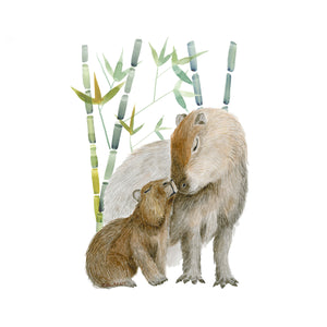 Mom and Baby Capybara Nursery Print
