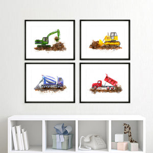 Framed Construction Truck Print Set of 4