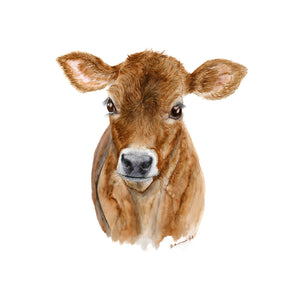 Baby Dairy Cow Watercolor Print