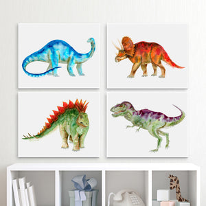 Set of 4 Dinosaur Canvas Prints