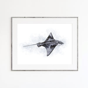 Eagle Ray Watercolor Art
