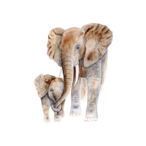 Mom and Baby Elephant Watercolor Print