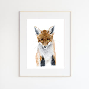 Baby Fox Watercolor Portrait