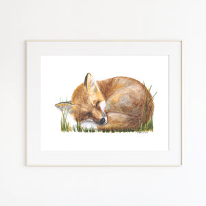 Baby Fox Watercolor Print