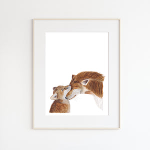 Mom and Baby Fox Print