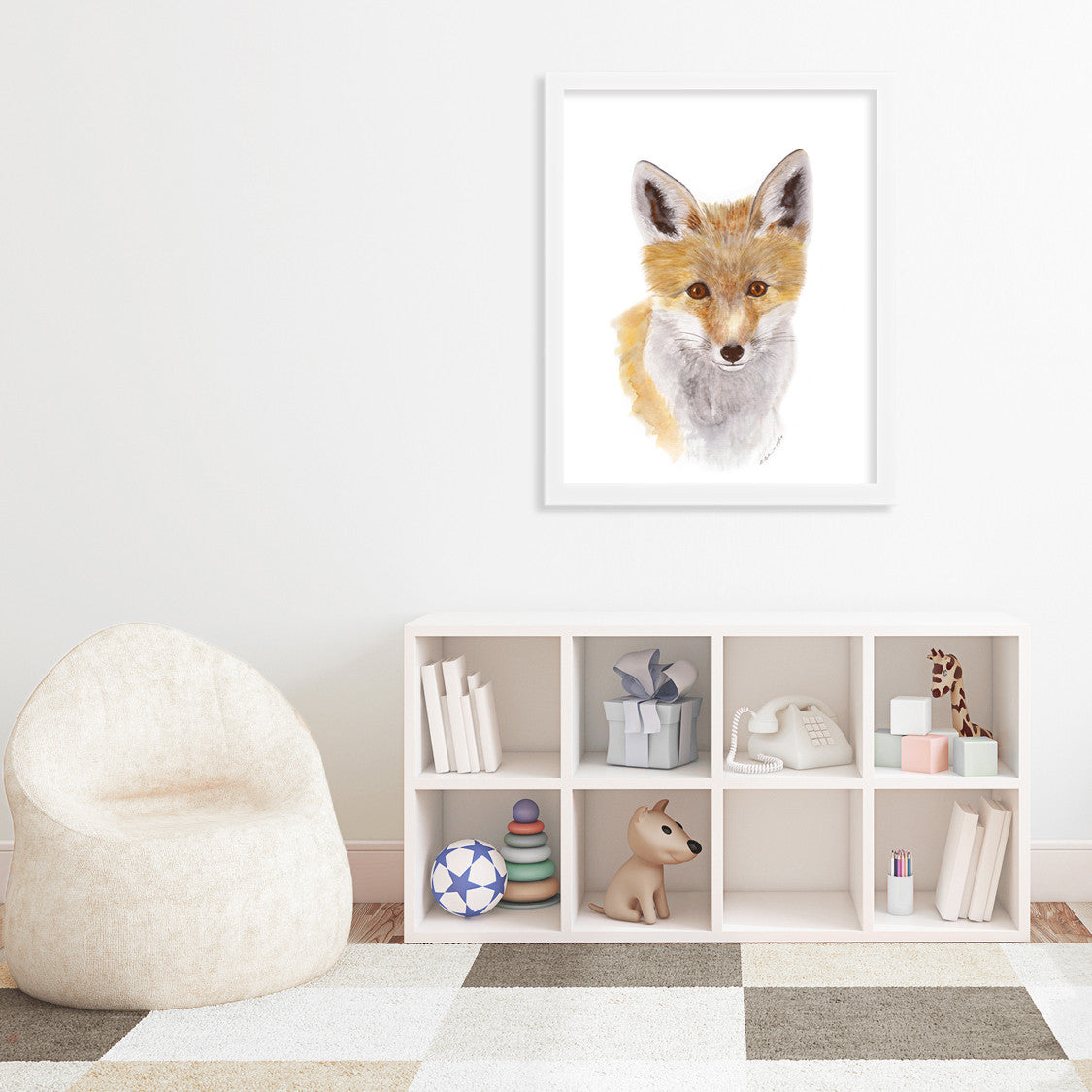 Baby Fox Portrait Nursery Art Tiny Toes Design