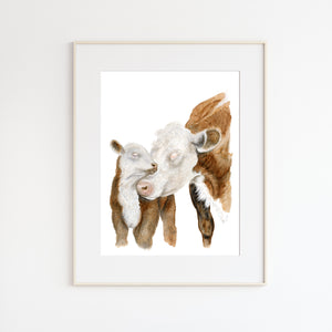 Hereford Cows Watercolor Print