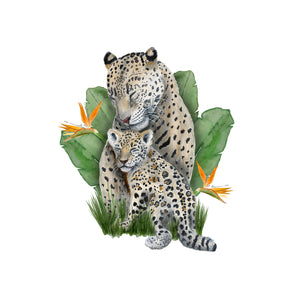 Mom and Baby Jaguar Watercolor with Banana Leaves