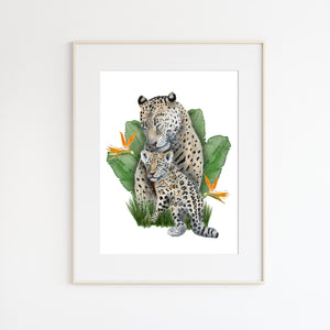 Mom and Baby Jaguar Watercolor with Foliage