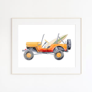 Orange Jeep Beach Decor