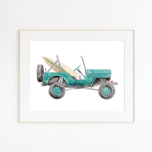 Turquoise Jeep Beach Decor