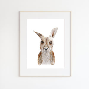 Baby Kangaroo Watercolor Print